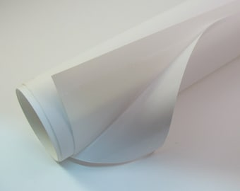 """Pressure Sensitive Styrene 1/2 yard 48"""" Wide to Laminate Paper or Fabric for Lampshade Making White with Sticky Self Adhesive Surface #212"""