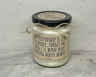 My Friendship Is Like A Candle   Best Friend Candle   Gift For Her   I'll Burn Your House Down   Gift For Him   Funny Candle   Funny Gift