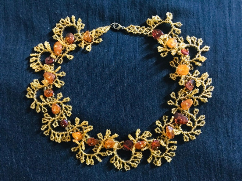 Genuine Czech Amber Beaded Gold Tone Garland Choker Necklace New Vintage