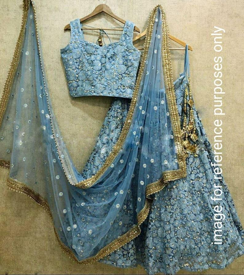 Ethnic  tissue net chaniya choli embroidery lehenga skirt crop top wedding Diwali all festivals