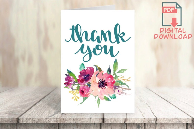 Notecard PDF Cut-out 5x7\u201d Printable Thank You Card Digital Download Calligraphy with Floral