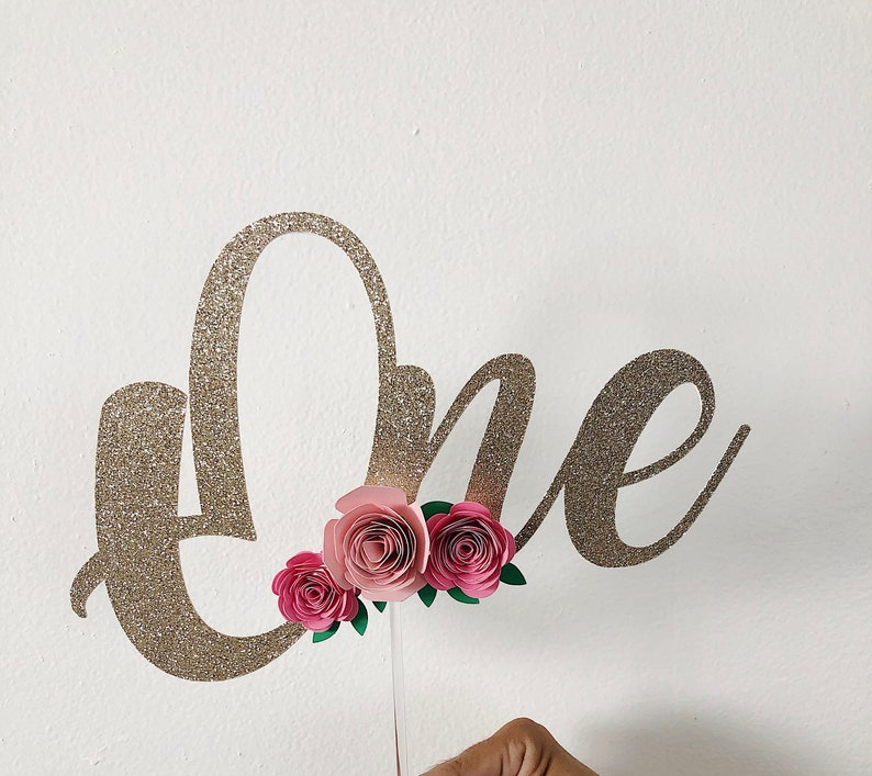 floral cake topper cake smash topper, one year old cake topper One cake topper