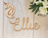 Wooden MDF unpainted blank wall letters for nursery bedroom wedding or baby shower script name toy box door plaque blank unicorn girls