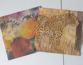 Paper towel, fruit or tiger for scrapbooking, collage