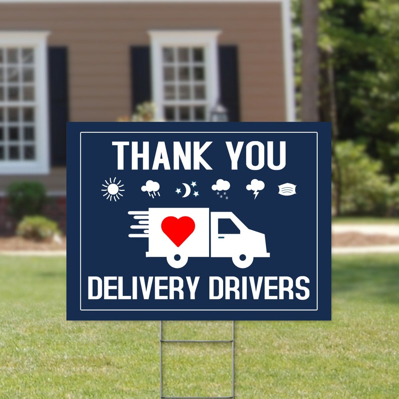 Drivers Appreciation Truck Drivers Thank You Sign Essential Worker Gift Thank You Delivery Drivers Yard Sign 24\u201d x 18 Printed Sign