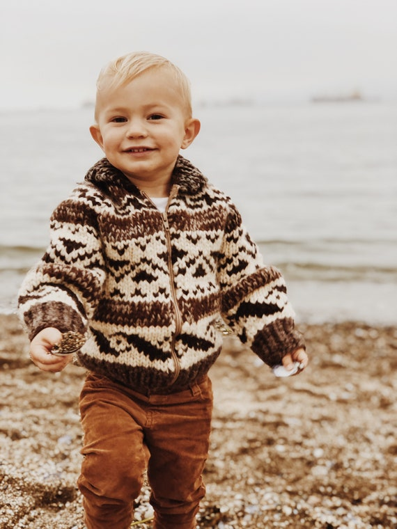 Hand-Knit Cowichan Zip Sweater