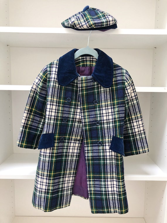 Vintage Navy Plaid Pea Coat with Beret