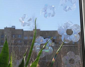 Rainbow Flowers Suncatcher Sticker Set for Windows - Rainbow maker cling decals
