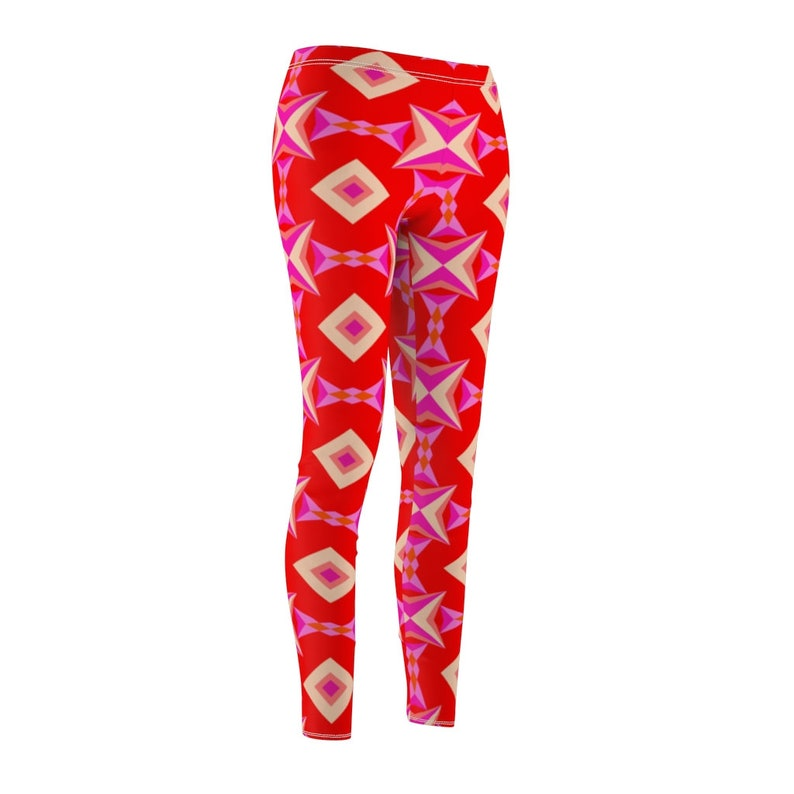 Original Artwork Women/'s Casual Leggings Trendy Workout Legging Red Geometric Athletic Sportswear Fun Colorful Girls Leggings