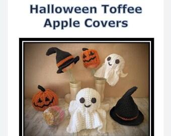 Halloween crochet pattern, toffee apple crochet pattern, pdf pattern, pumpkin pattern, ghost pattern, witches hat crochet.