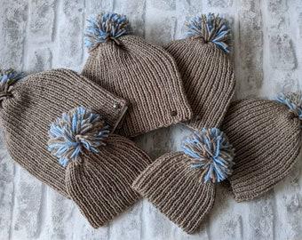 Matching family hats, kids beanie, adult winter hat, men's bobble hat. Ladies hat, baby's hat