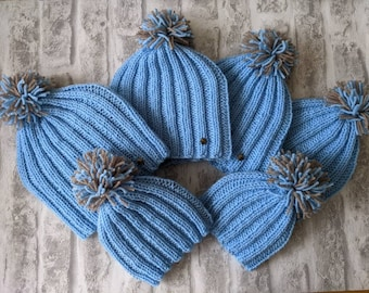 Matching family hats, knitted beanie, men's hat, kids hats, ladies hat, baby's bobble hat