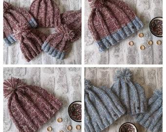 Matching family hats, mum daughter hats, dad son hats, winter beanie hat. Ladies hat, men's hat, children's hat, baby hats