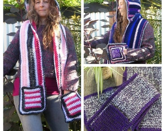 Hooded scarf, scarf with pockets. Winter hat