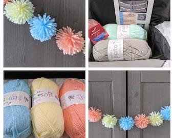 Garland kit, pom pom kit, kids craft kit, bunting