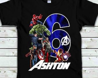Superhero Inspired Birthday ShirtBoys Captain Birthday Shirt Personalized Birthday Shirt Number Birthday America Shirt