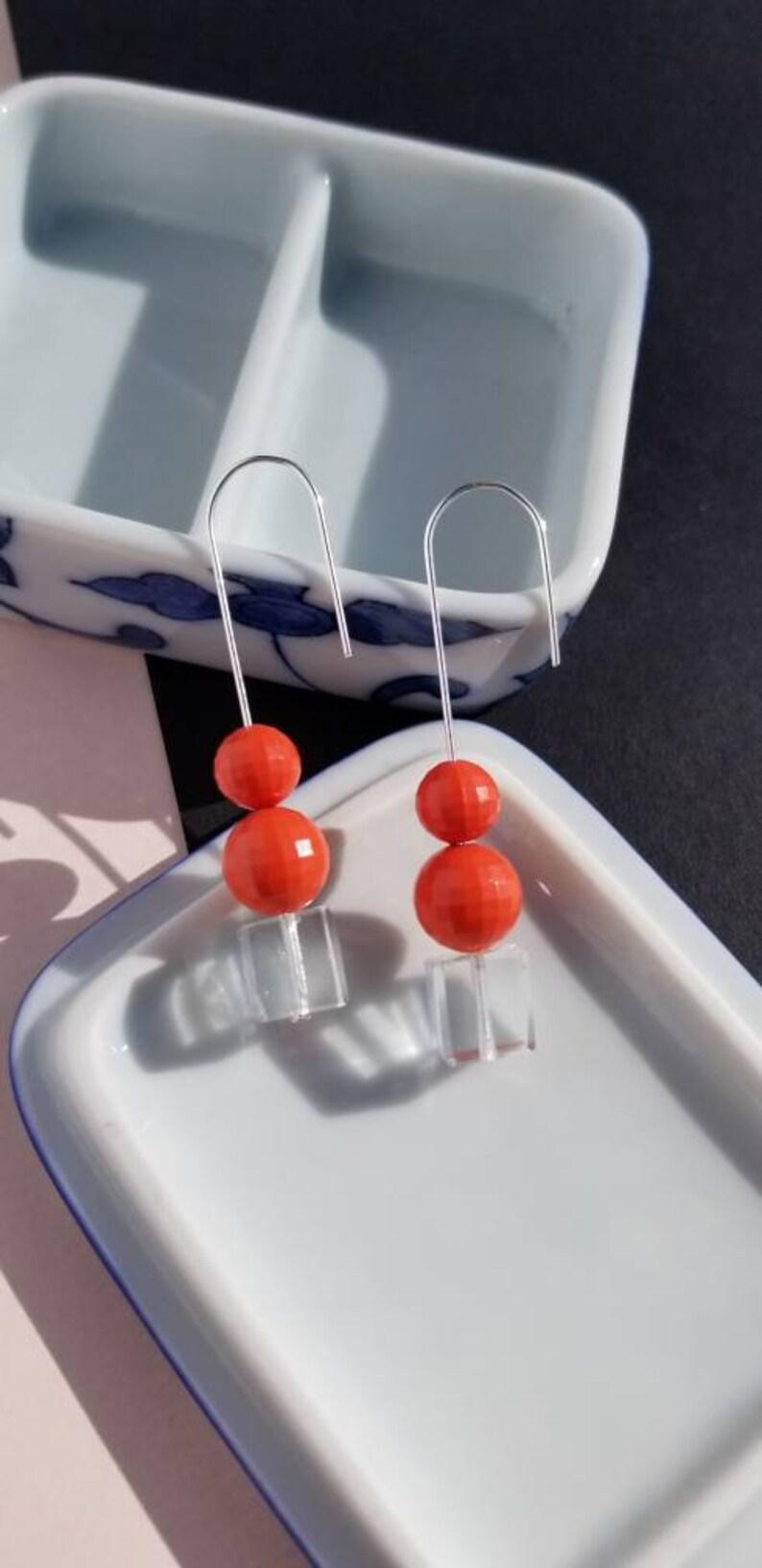handmade earrings,cube earrings Geometric earrings,minimalist earrings
