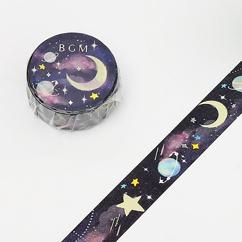 Beautiful Night Dream Cosmic Moon Planets Washi Masking Tape Japanese Tape For Scrapbooking Journal DIY Paper Projects