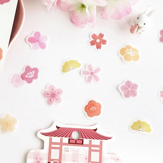 45Pc Sakura Garden Cherry Blossom Japanese Style Stickers For Beautiful Mini DIY Scrapbooking Bujo Journal Crafts