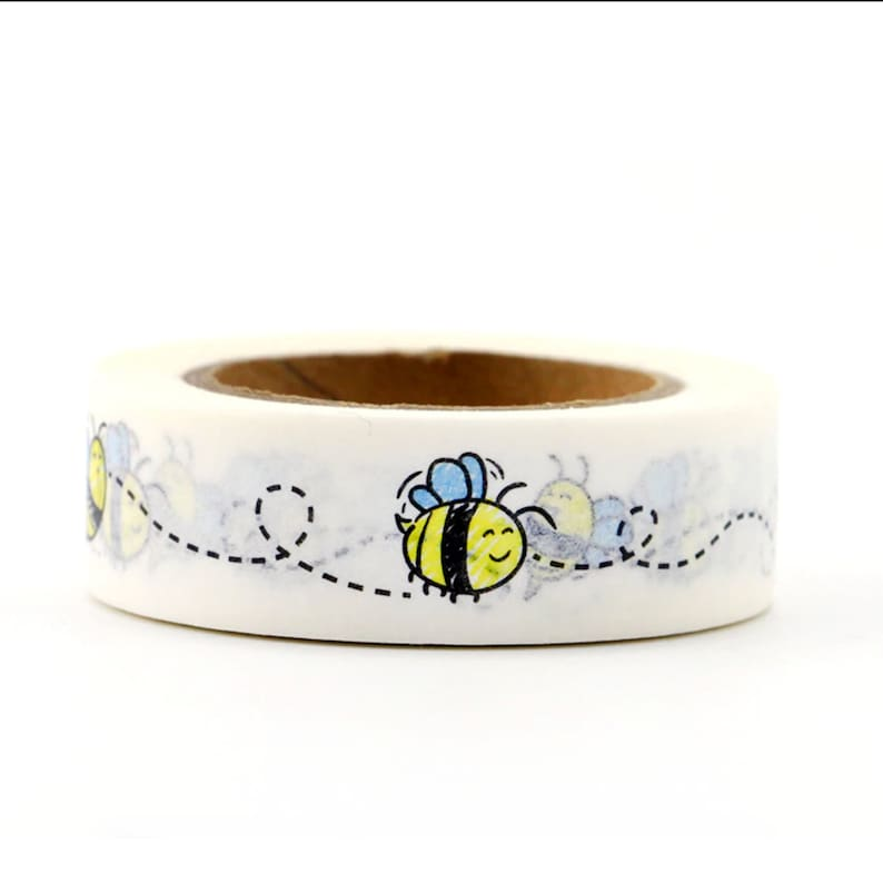 Cute Little Bumble Flying Bees Cartoon Washi Masking Tape For Scrapbooking DIY Stationery Journal Penpal Crafts