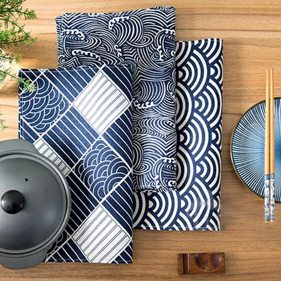 Japanese Style Wave/Scale Placemat Design Fashion Fabric Table Mats With Nice Design. Tableware, Dinner Aesthetic