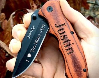 Engraved Pocket Knife for Boyfriend, Personalized Knife for Husband, Hunting Knife, Custom Knife, Boyfriend Gift, Husband Gift, Pocket Knife