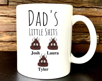 Dad's Little Shits Coffee Mug, Personalized Dad Mug, Personalized Gifts for Dad from Daughter, Son, Kids, Dad Birthday Gift,Fathers Day Gift