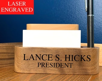 Personalized Wood Business Card Holder, Engraved Wood Business Card Holder for Desk, Customized Desk Accessory, Personalized Office Gift