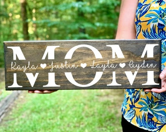 Mom Birthday Gift, Mother's Day Gift, Mom Wood Sign, Gift for Mom, Mom Gift, Gift from Kids, Mom Gift from Kids, Mom Signs with Kids Names