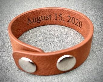 Personalized Leather Bracelet, Engraved Leather Bracelet, Custom Leather Bands, Mens Leather Bracelet, Hidden Message Bracelet, Gift for Men