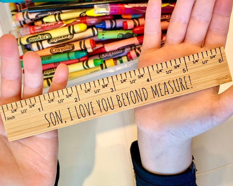 Valentines Day Gift for Kids Engraved School Ruler Wooden image 0