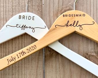 Custom Bridal Hanger, Personalized Bridesmaid Hangers, Bride Hanger for Wedding Dress, Hangers for Bridesmaids, Hangers for Wedding