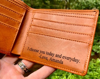 Personalized Leather Wallet Mens Wallet Leather Personalized Wallets for Men gift for Husband gift for Him Personalized Gift for Men Wallet