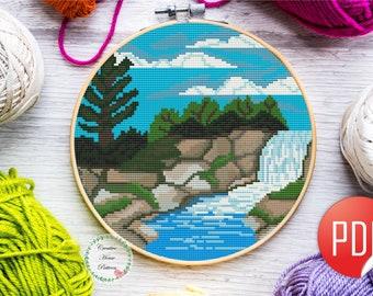 Needlework Crafts Broderie Bricolage Counted Cross Stitch Kit cascade montagnes