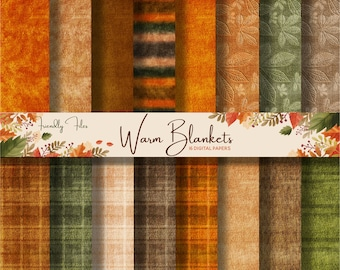 """AUTUMN SCRAPBPOOK BACKGROUNDS, Thanksgiving, Digital Papers, 16 Fall Scrapbook Paper, 12"""" x 12"""", Printable, Fabric Backgrounds, High Quality"""