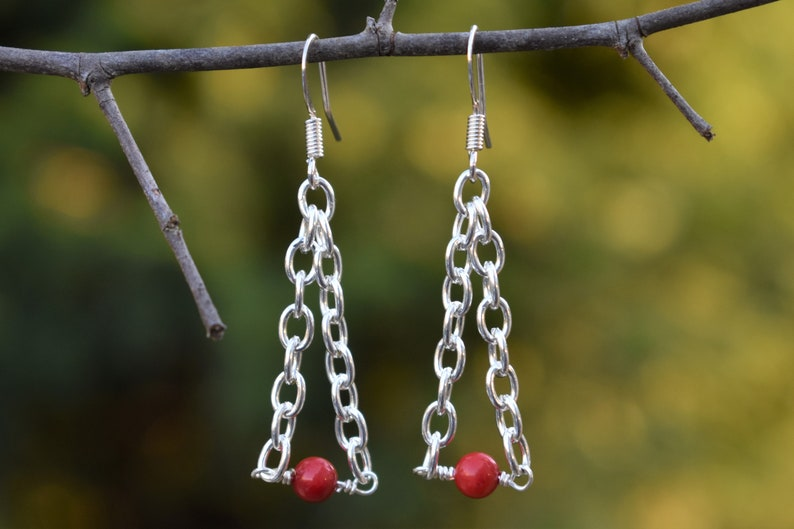 Perfect Christmas gift nickel free Complete delicated red jewelry set necklace earrings bracelet ring Quartzite silver plated details