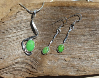 Green Turquoise Pendant and Earrings