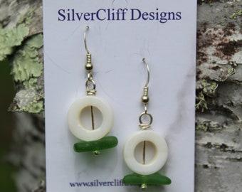 Beach glass and abalone circle earrings