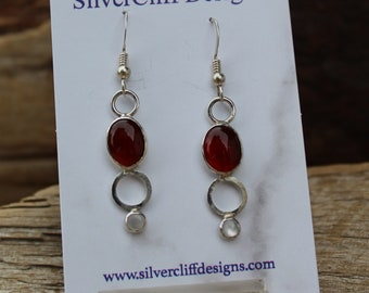 Carnelian and mother of pearl earrings