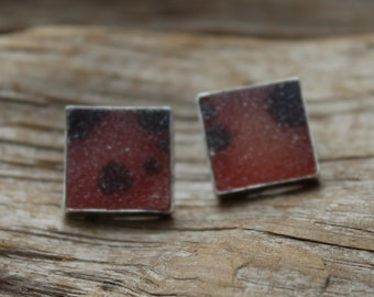 Red and Black dot Druzy Earrings