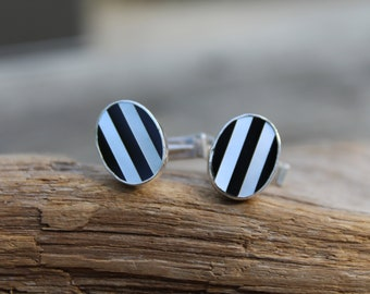Black Onyx and Pearl Cuff Links