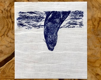 """Linocut """"The Plunge"""" - Seal"""