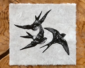 Linocut: A Flight of Swallows