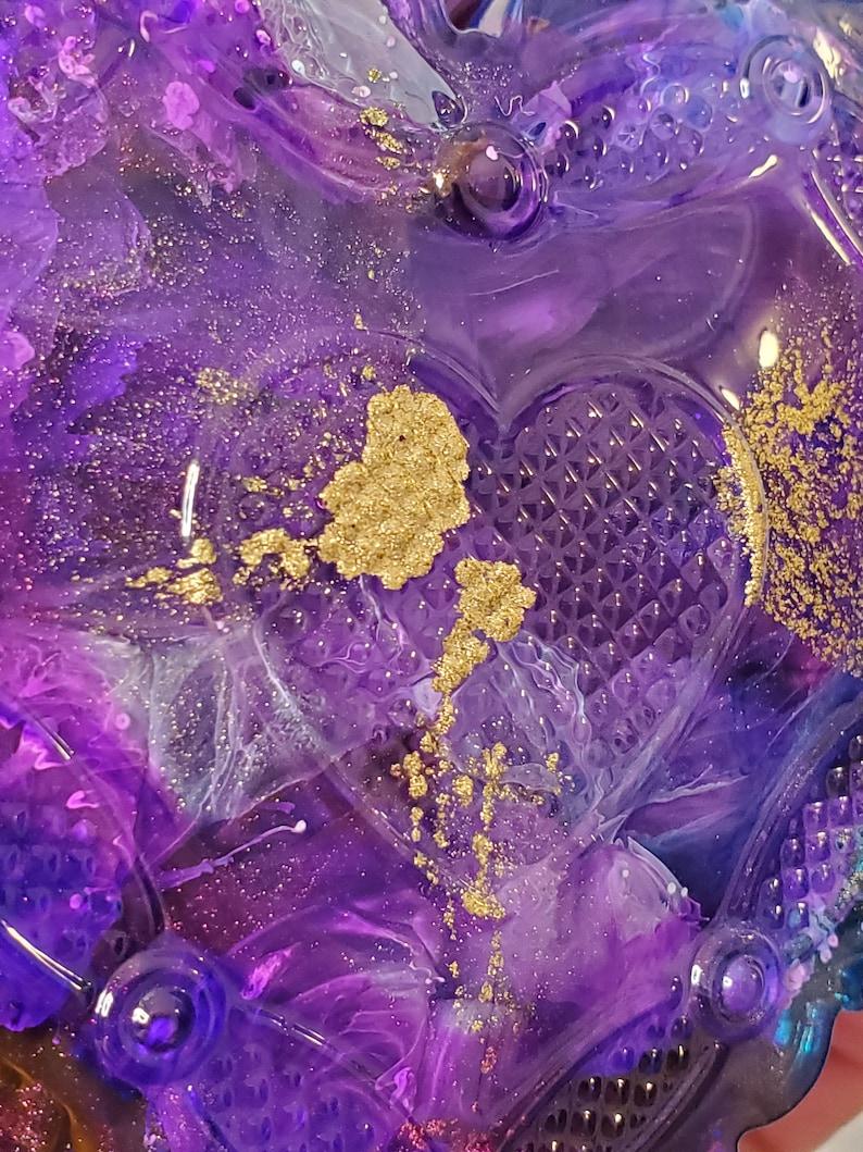 PurpleBlueOcean Green Ink Heart Shaped RingTrinketJewelry Dish wLid