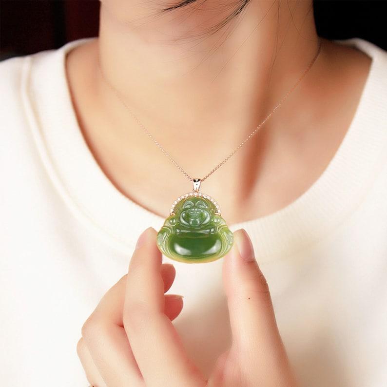 Natural nephrite Hetian jade Laughing Buddha pendant Buddhist natural green jade pendant 100/% authentic Hotan jade jade buddha pendant