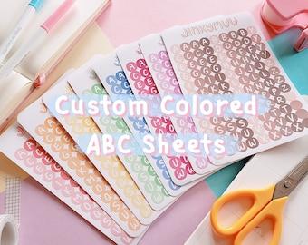 CUSTOM COLORED (Set of 2)   Alphabet Sticker Sheet   Deco & Planner Stickers