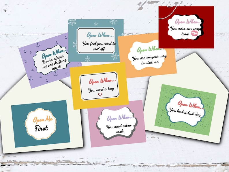 Printable Open When Envelope Cards Open When Letters image 0