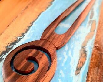 Wooden hair pic stings baguette bun