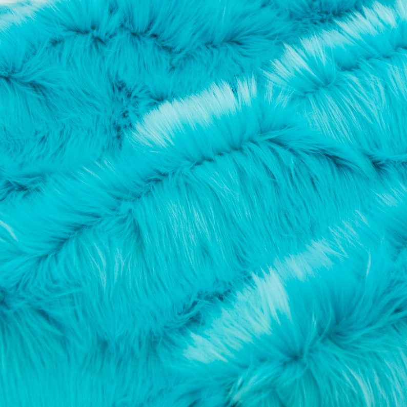 Fursupply  Faux Fur Yardage  Solid TURQUOISE  Teal Bright image 0