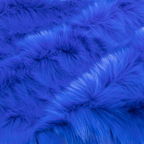 LUXURY Short Plush Super Soft Faux Fur Fabric Material SKY BLUE